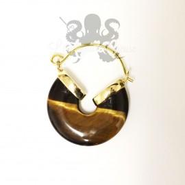 Paire de boucles d'oreilles en bronze & oeil de tigre