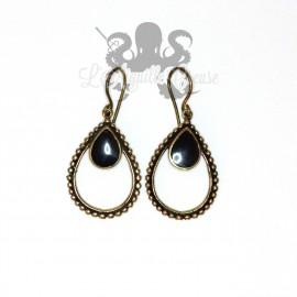 Paire de boucles d'oreilles en bronze et nacre noir