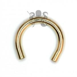 Fer à cheval en or jaune 18 carats de 1.2 mm, pas de vis interne pour accessoire en 0.8 mm