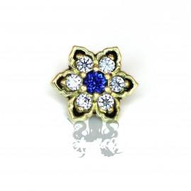 Fleur bicolore en Or 18 carats, pour bijou en 1 ou 1.2 mm