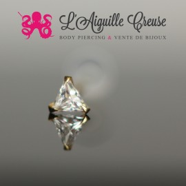 Zircon triangulaire en or jaune 14k