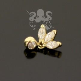 Accessoire trio de marquises et son pendentif en Or 18 carats et cristaux Swarovski, pour bijou en 1 ou 1.2 mm