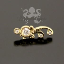 Accessoire arabesques en Or 18 carats et cristaux Swarovski, pour bijou en 1 ou 1.2 mm