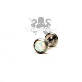 Cabochon d'opale synthétique et labret en titane - pas de vis interne