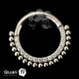 Anneau segmenté en titane QualiTi et zircons, ouverture facile