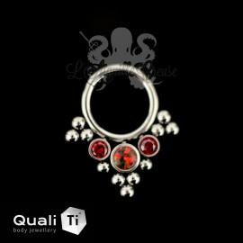 Anneau segmenté en titane QualiTi , Opale synthétique et zircons cubiques, ouverture facile