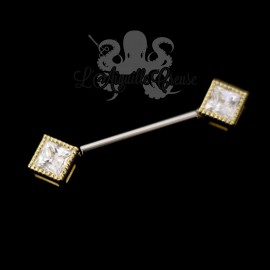 Bijou de téton en or 18 carats & zircons, barbell en titane - Threadless