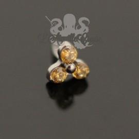 Accessoire en titane orné de trois cristaux Swarovski Threadless