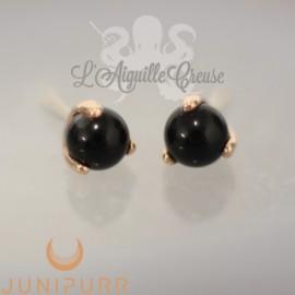 Onyx griffé d'or rose 14 carats Threadless Junipurr