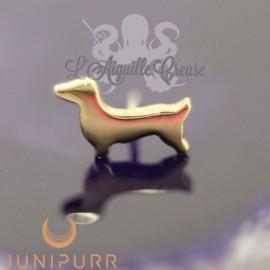 Teckel en or jaune 14 carats Threadless Junipurr