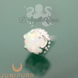 Couronne et opale synthétique en or blanc 14 carats Threadless Junipurr
