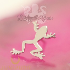 "Grenouille ""Prince Charmant"" en or blanc 14 carats Threadless Junipurr"