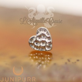Coeur martelé en or blanc 14 carats Threadless Junipurr