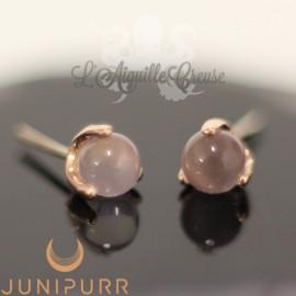 Quartz Rose griffé d'or rose 14 carats Threadless Junipurr