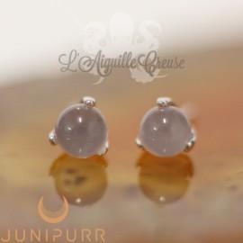 Quartz Rose griffé d'or blanc 14 carats Threadless Junipurr