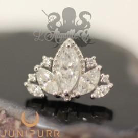 Queen Naveen griffé d'or blanc 14 carats Threadless Junipurr