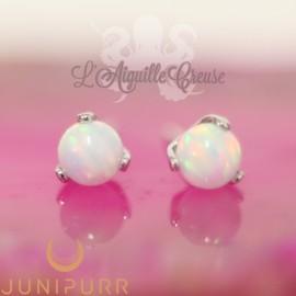 Opale synthétique griffé d'or blanc 14 carats Threadless Junipurr