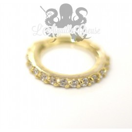 Anneau articulé en or jaune 18 carats & Swarovski
