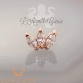 Triple marquise & cristaux Swarovski griffé d'or rose 14 carats Threadless Junipurr