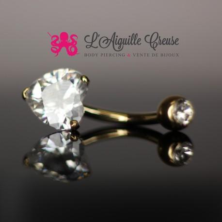 Bijou de nombril en Or 14 carats & Zircon coeur