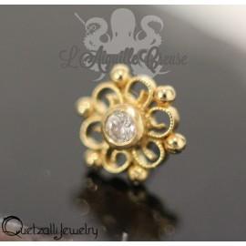 Accessoire en or 14 carats et zircon Threadless - Quetzalli