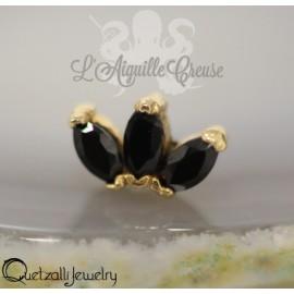 Triple Marquise en or 14 carats et zircon Threadless - Quetzalli