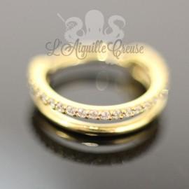 Anneau double segmenté pvd or 24 carats orné de cristaux swarovski, ouverture facile