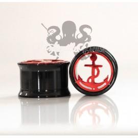 Plug Ancre en acier 316L pvd noir et rouge