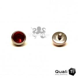 Accessoire QualiTi en zircon indian pink et titane - pour 1.6 mm