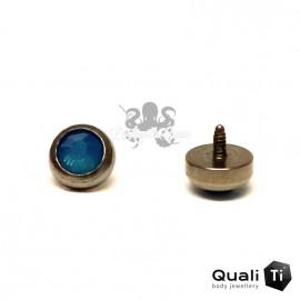 Accessoire QualiTi en zircon bleu des caraibes et titane - pour 1.6 mm
