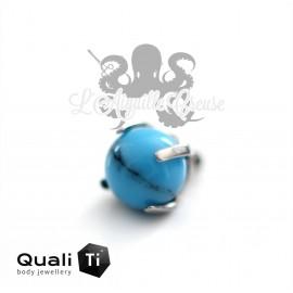 Accessoire QualiTi en titane & fausse Turquoise de 3 mm , pour 1.2 mm