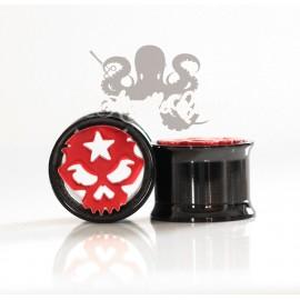 Plug crâne en acier 316L pvd noir et rouge