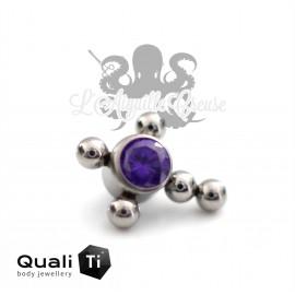 Croix QualiTi en titane et zircon cubique - pour 1.2 mm