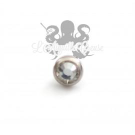 Accessoire pour bijou en 1.6 mm en acier chirurgical & cristal Swarovski - 3 mm