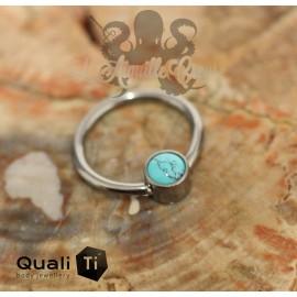 Anneau titane & turquoise synthétique QualiTi