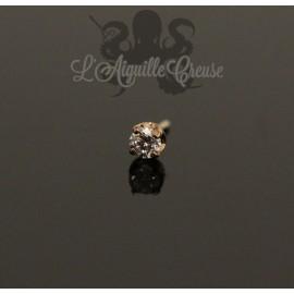 Accessoire en or rose 18 carats orné d'un Diamant Threadless