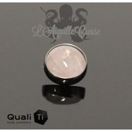 Cabochon de Quartz rose QualiTi en titane - pour 1.6 mm