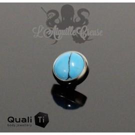 Cabochon de turquoise synthétique QualiTi en titane - pour 1.6 mm
