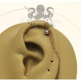 Charm chainette pvd rose gold pour lier deux piercings