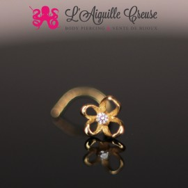 Stud Or 14k, orné papillon et son zircon